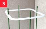 支柱枠を支柱の上から5cmの位置につける