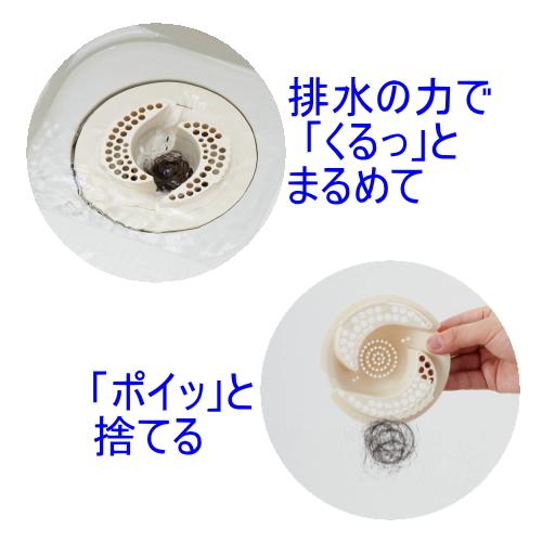 排水の力で髪の毛をまとめ、手を汚さず捨てれる